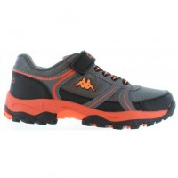 303PTM0_943 Kappa Kily Kids Juniors Black Orange Trainers