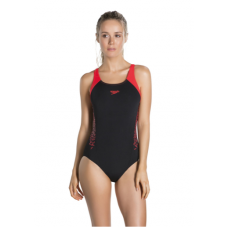 Speedo Boom Splice Muscleback Adults Swimsuit Black-Red