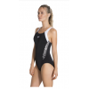 Speedo Boom Splice Muscleback Adults Swimsuit Black White