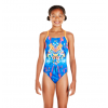 Speedo Dreamscape Fusion Placement Crossback Juniors Kids Swimsuit Orange Navy