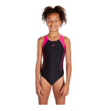 Speedo Boom Splice Muscleback Juniors Kids Swimsuit Black Pink