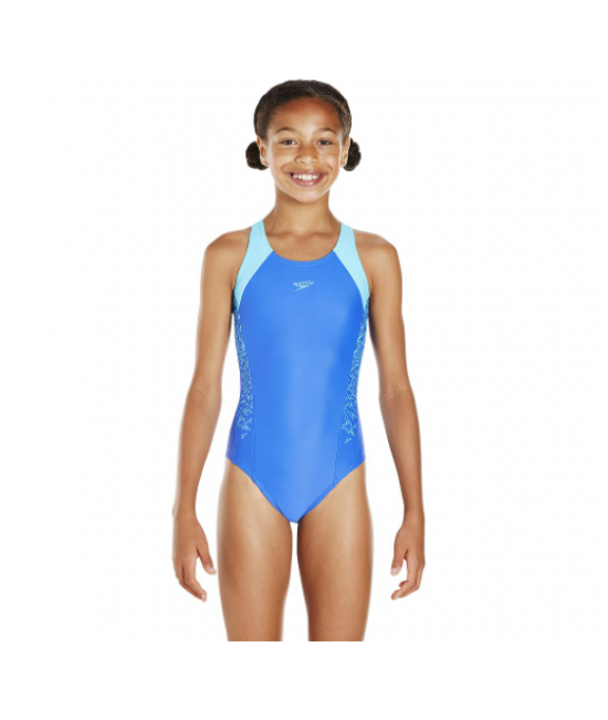Speedo Boom Splice Muscleback Juniors Kids Swimsuit Blue Turquoise