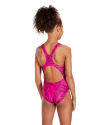 Speedo Boom Allover Splashback Juniors Swimsuit Black Pink