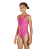 Speedo Boom Allover Splashback Juniors Swimsuit Purple Orange