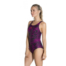 Speedo Boom Allover Muscleback Women's Swimsuit Black Pink