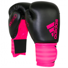 Adidas Hybrid PU Boxing Gloves Black Pink 10 oz