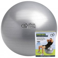 Fitness Mad Yoga 125kg Swiss Ball & Pump Silver