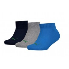 Puma KID'S Invisible Socks ( Pack of 3) Dark Blue Grey Blue