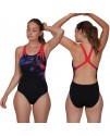 Speedo ColourRays Placement Women's Powerback Swimsuit Black