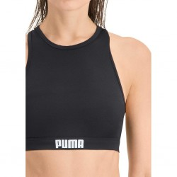 Puma Women's Racer-back Swim Top Logo Black
